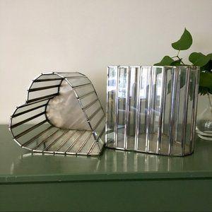 XL Chrome Paneled Heart Shaped Metal + Glass Bins